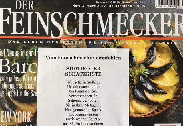 Empfehlung unserer Delikatessen Metzgerei in der letzten Feinschmecker Ausgabe