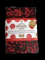 Dunkle Schokolade mit Himbeeren
