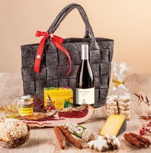 Filztasche mit Südtiroler Produkten gefüllt